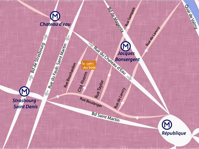 Plan d'accès à l'atelier Le Coin des Bois